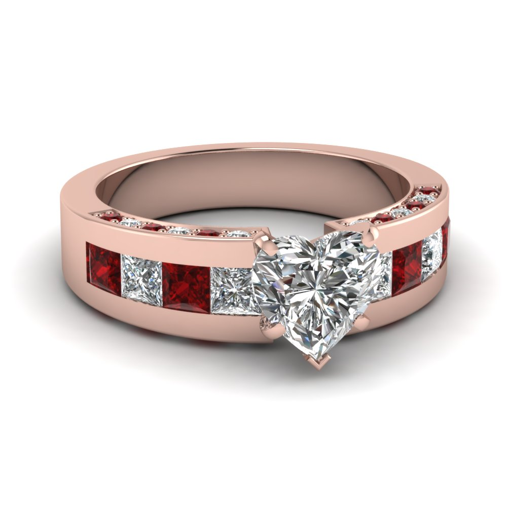 Rose Gold Heart Shaped Engagement Ring With Ruby Accents
