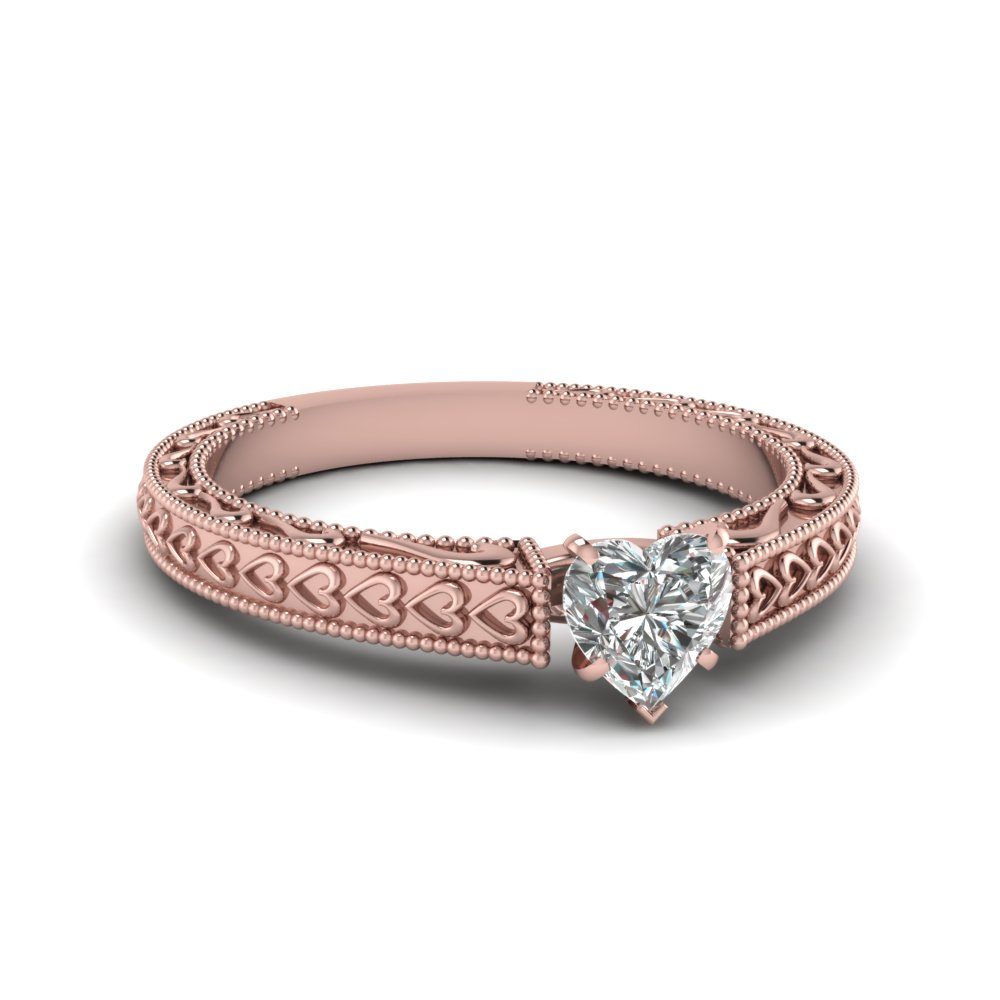 heart shaped diamond heart chain solitaire ring in 14K rose gold FDENS3612HTR NL RG