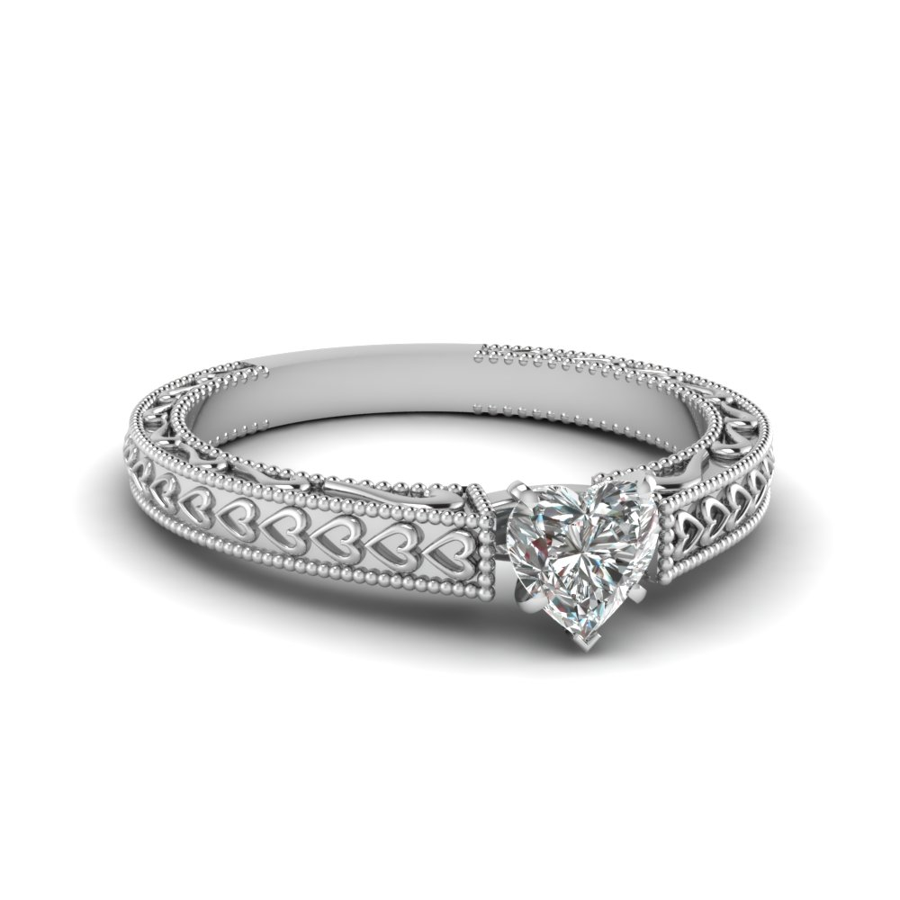 Milgrain Solitaire Diamond Rings