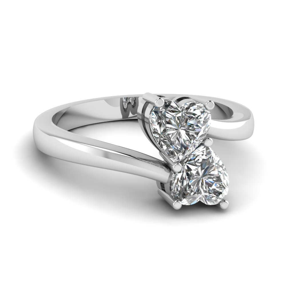 Side Stone Heart Shaped Diamond Engagement Ring