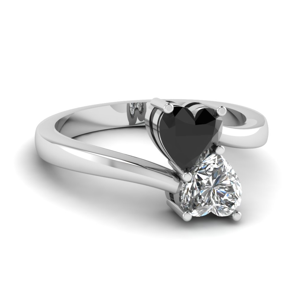 Heart Shaped Diamond Heart Pair Side Stone Ring With Black Diamond