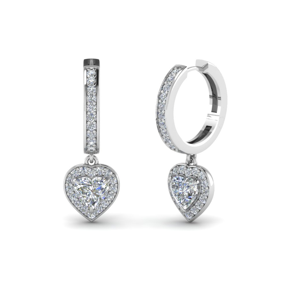 Heart Shaped Diamond Hoops Earrings In 18k White Gold Fdear1185ht Nl Wg