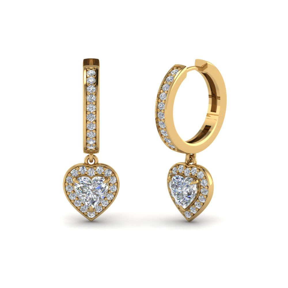 gold earrings pave shaped wh p heart diamond small round