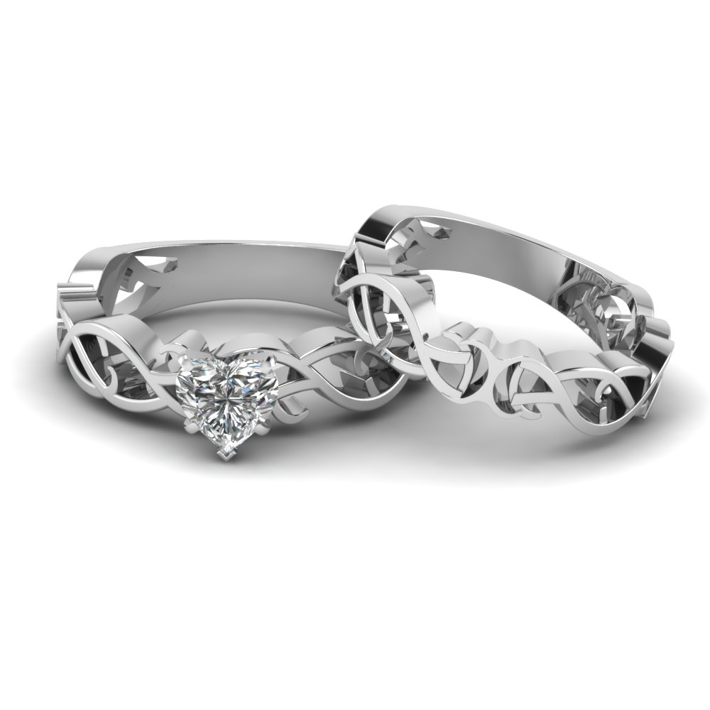 heart shaped intricate grid solitaire wedding set in 14K white gold FDENS2246HT NL WG