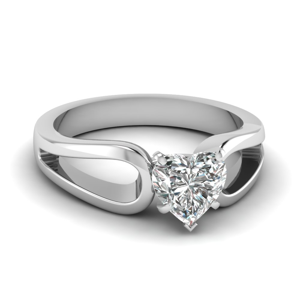 heart shaped diamond loop duet solitaire ring in 14K white gold FD1149HTR NL WG