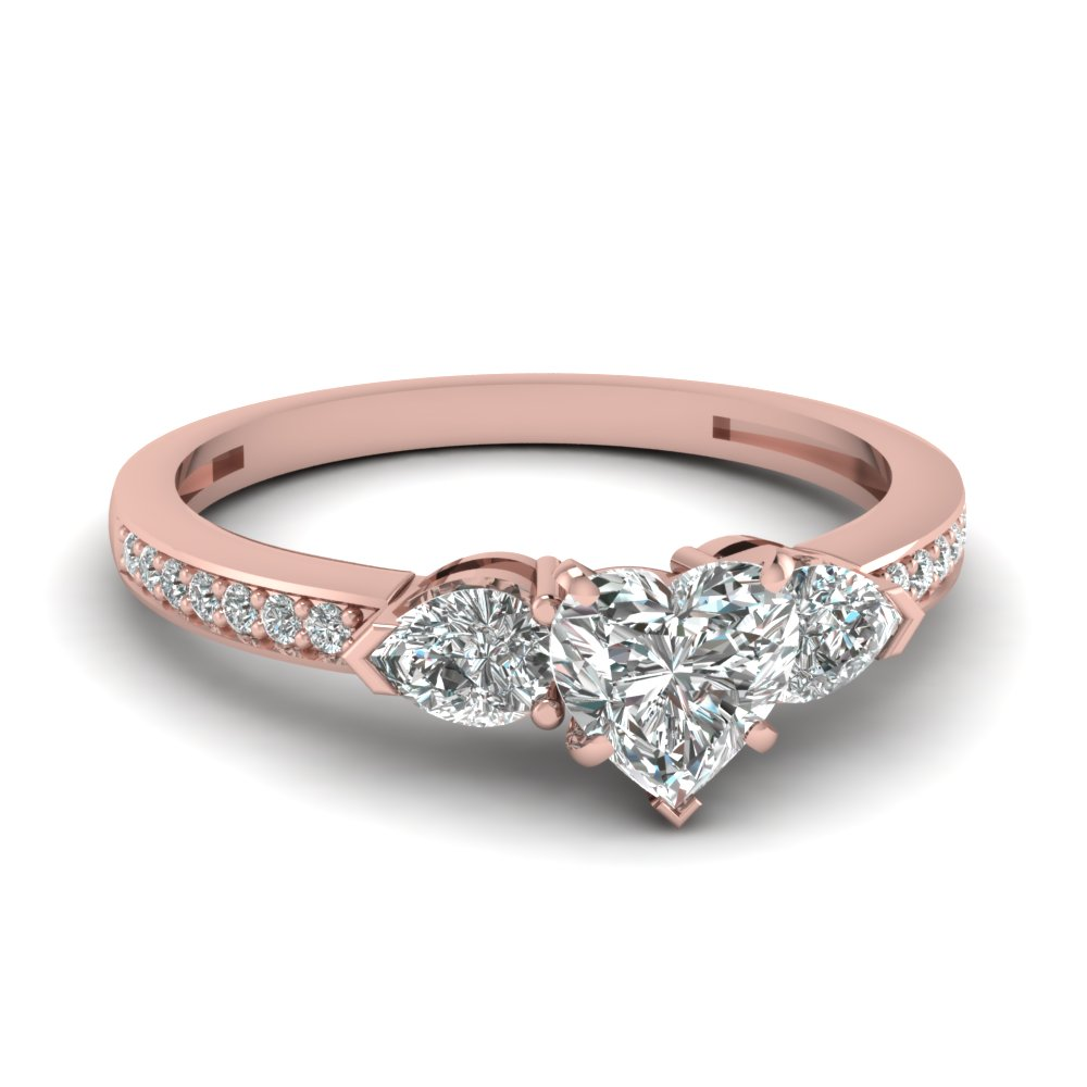 pear accent 3 stone heart shaped diamond engagement ring in 14K rose gold FDENS3111HTR NL RG