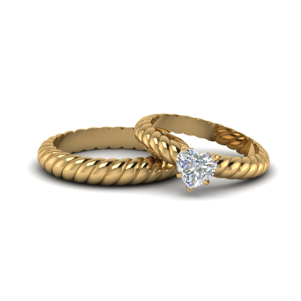 Heart Shaped Diamond Matching Wedding Ring For Bride And Groom In 18k Yellow Gold Fd8177b Nl