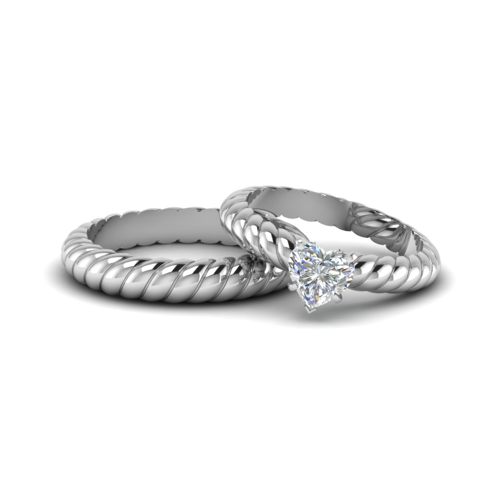 Heart Shaped Diamond Matching Wedding Ring For Bride And Groom In