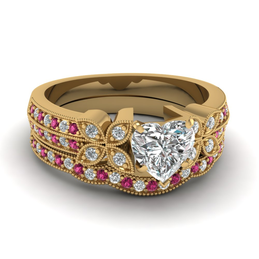 heart-shaped-diamond-milgrain-petal-wedding-set-with-dark-pink-sapphire-in-14K-yellow-gold-FDENS3308HTGSADRPI-NL-YG