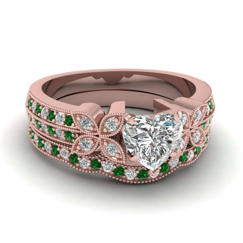 milgrain petal heart diamond wedding ring set with emerald in FDENS3308HTGEMGR NL RG