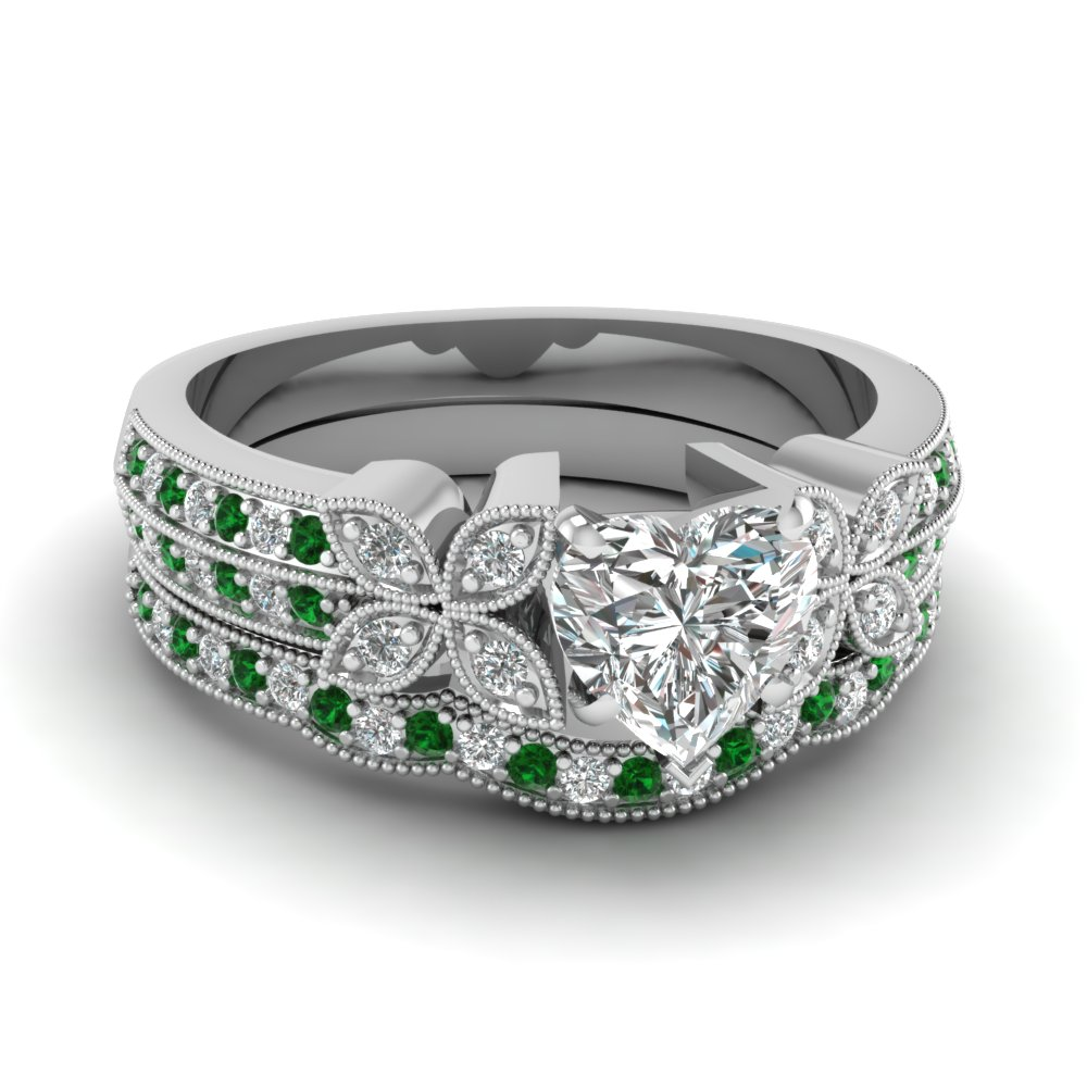 heart-shaped-diamond-milgrain-petal-wedding-set-with-green-emerald-in-14K-white-gold-FDENS3308HTGEMGR-NL-WG