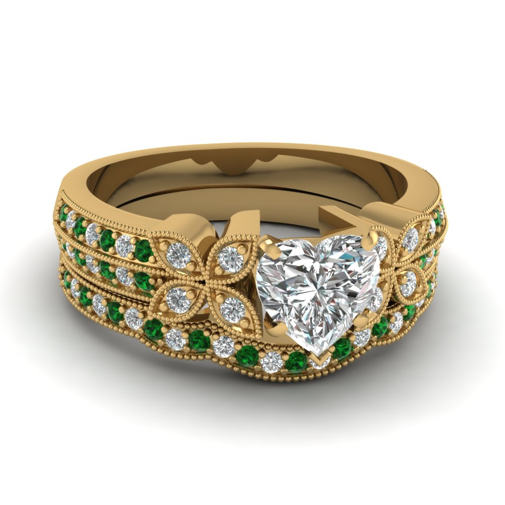 milgrain petal heart diamond wedding ring set with emerald in FDENS3308HTGEMGR NL YG