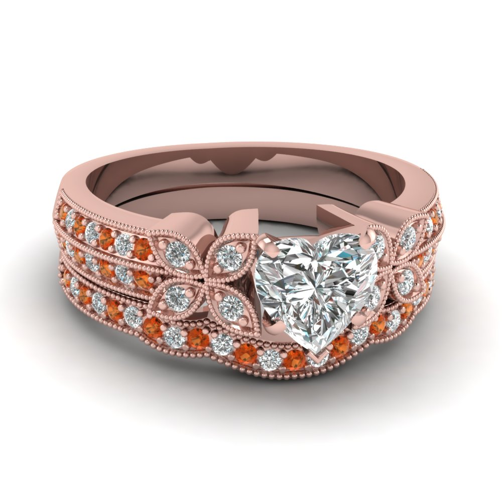 milgrain petal heart diamond wedding ring set with orange sapphire in FDENS3308HTGSAOR NL RG