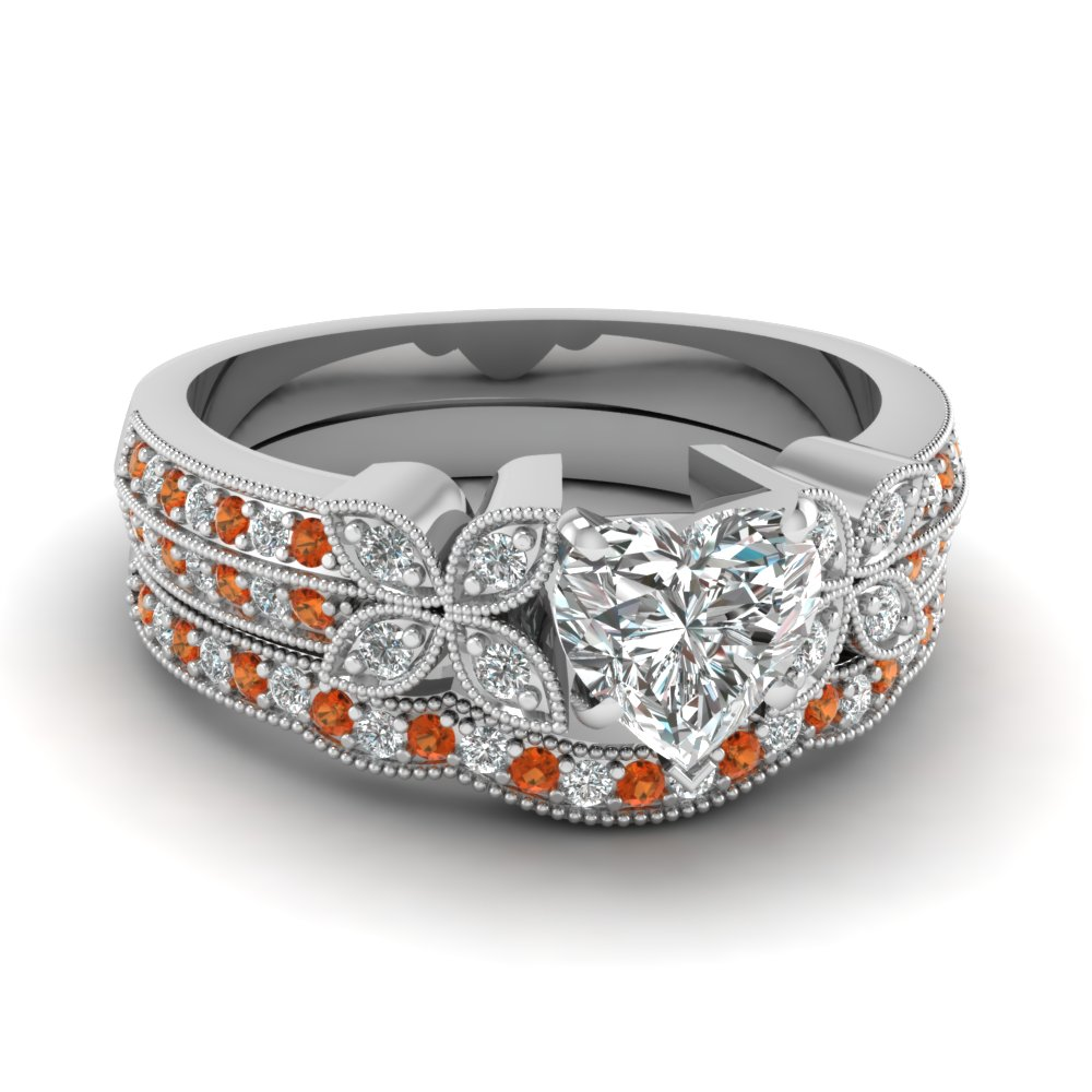 milgrain petal heart diamond wedding ring set with orange sapphire in FDENS3308HTGSAOR NL WG
