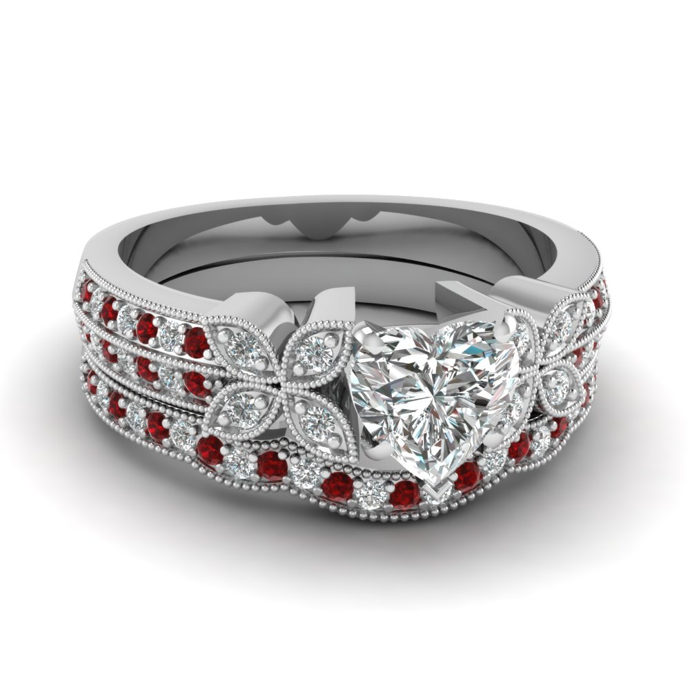 heart-shaped-diamond-milgrain-petal-wedding-set-with-red-ruby-in-14K-white-gold-FDENS3308HTGRUDR-NL-WG
