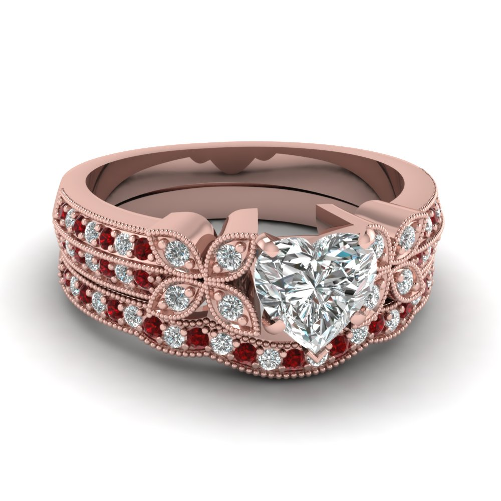heart-shaped-diamond-milgrain-petal-wedding-set-with-red-ruby-in-18K-rose-gold-FDENS3308HTGRUDR-NL-RG