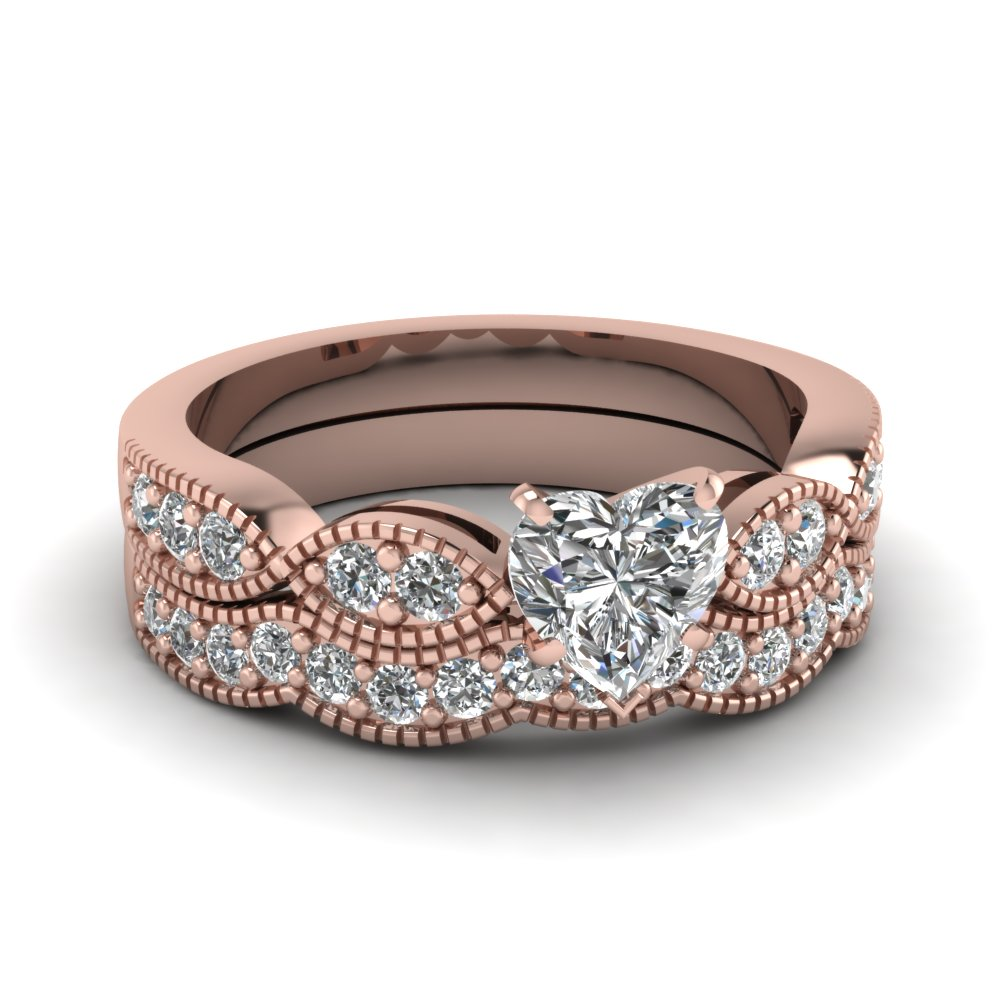heart shaped diamond milgrain weave wedding set in 14K rose gold FDENS3053HT NL RG