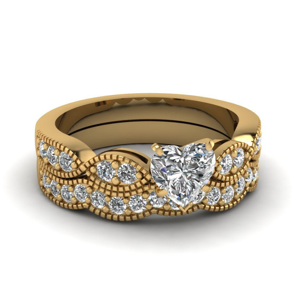 Custom Design Your Own 14K Yellow Gold Wedding Ring Sets
