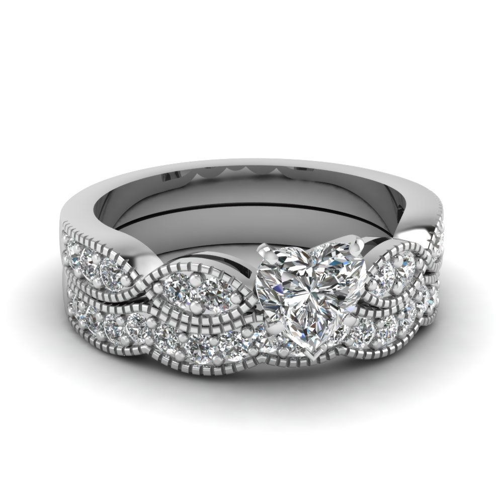 heart shaped diamond milgrain weave wedding set in - Wedding Set Rings