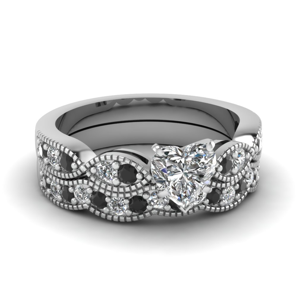 heart shaped  milgrain weave wedding set with black diamond in 14K white gold FDENS3053HTGBLACK NL WG