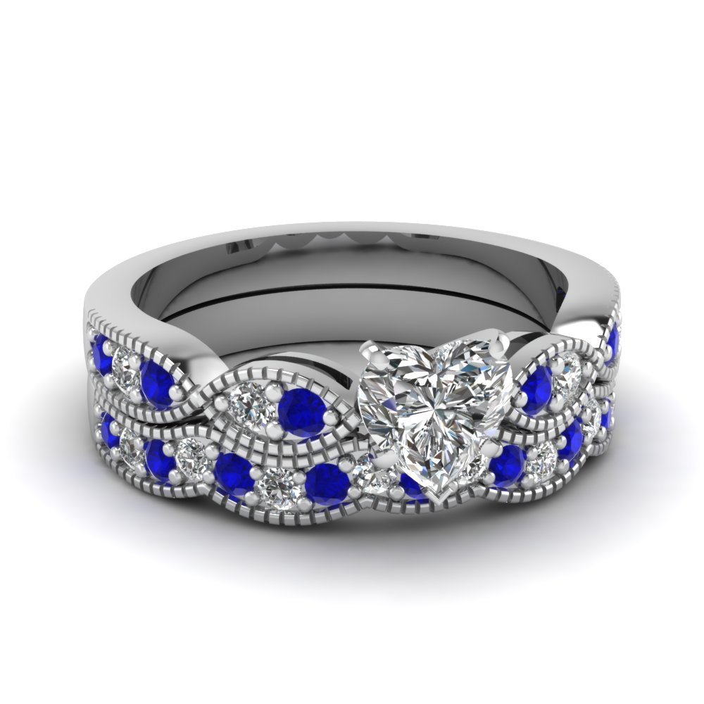 Heart Shaped Diamond Milgrain Weave Wedding Set With Blue Sapphire
