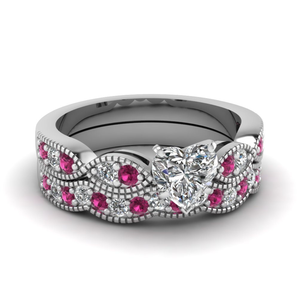 heart shaped diamond milgrain weave wedding set with pink sapphire in 950 Platinum FDENS3053HTGSADRPI NL WG