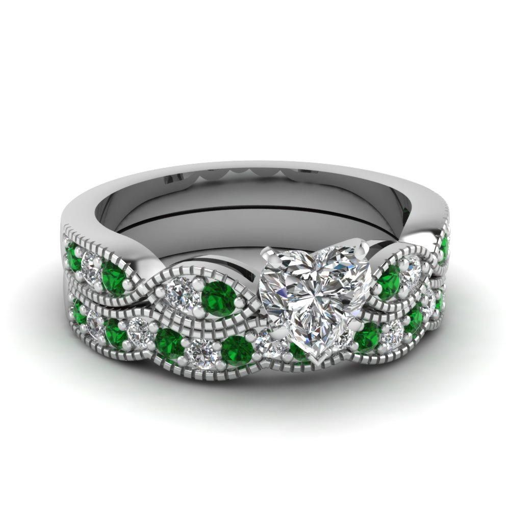 Heart Shaped Diamond Milgrain Weave Wedding Set With Green Emerald In 14K  White Gold FDENS3053HTGEMGR NL