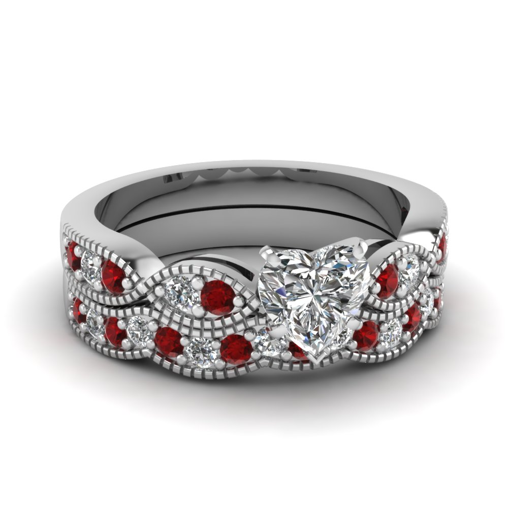 heart shaped diamond milgrain weave wedding set with ruby in 14K white gold FDENS3053HTGRUDR NL WG