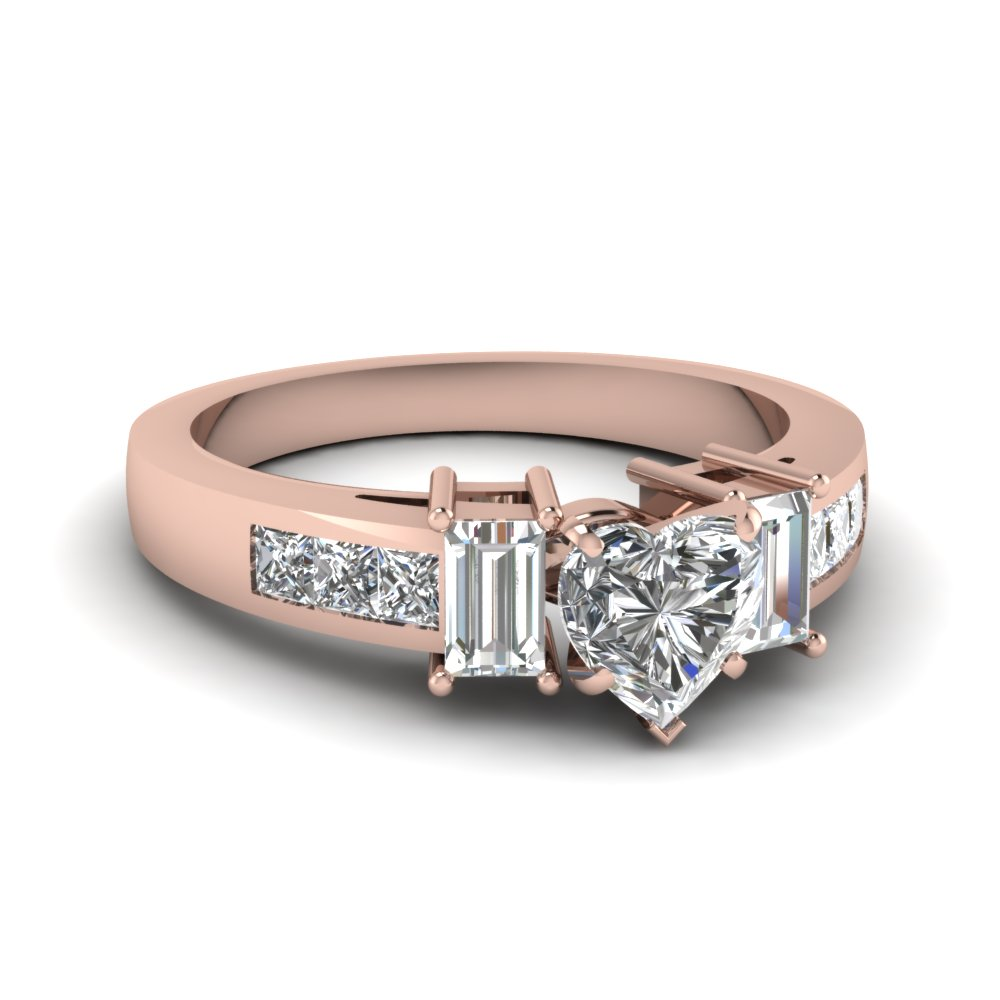 Pink Gold Princess Accented Diamond Ring