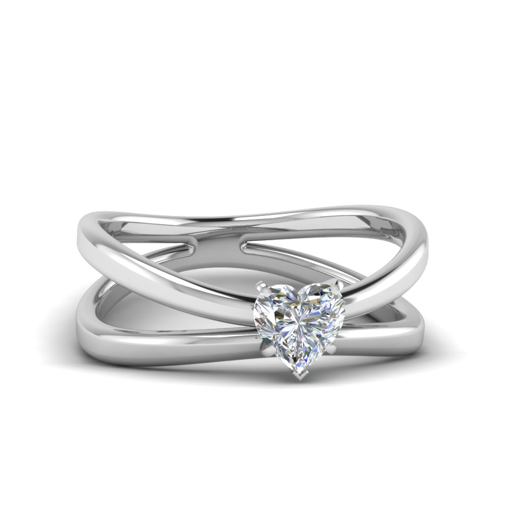 reversed split heart shaped solitaire engagement ring in FD1008HTR NL WG