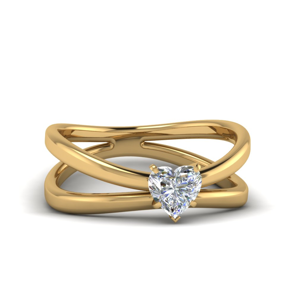 Reversed Split Shank Solitaire Ring