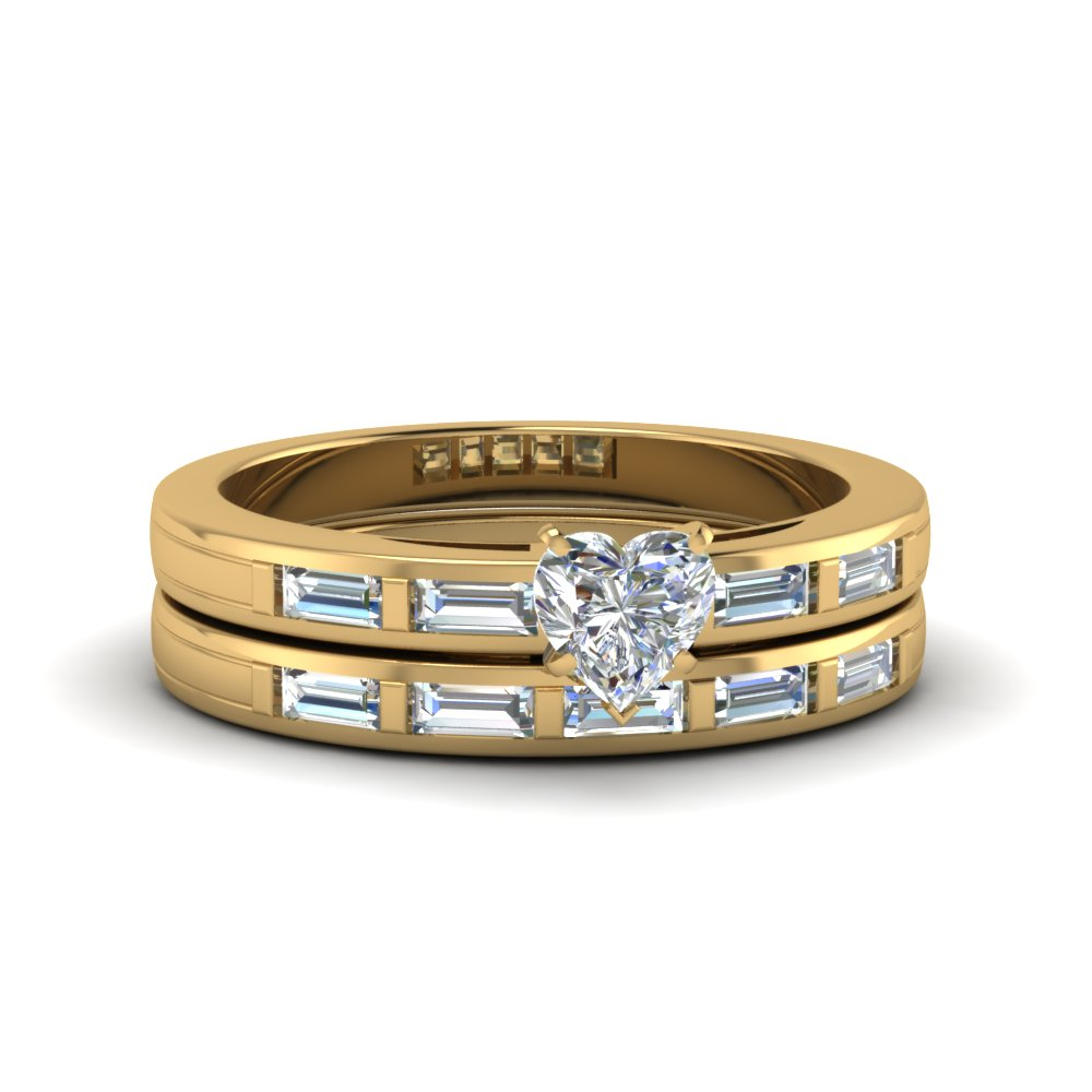 heart shaped diamond wedding ring sets with white diamond in 14k yellow gold - Heart Shaped Diamond Wedding Ring