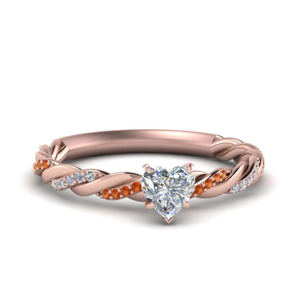 Twisted Vine Heart Diamond Ring