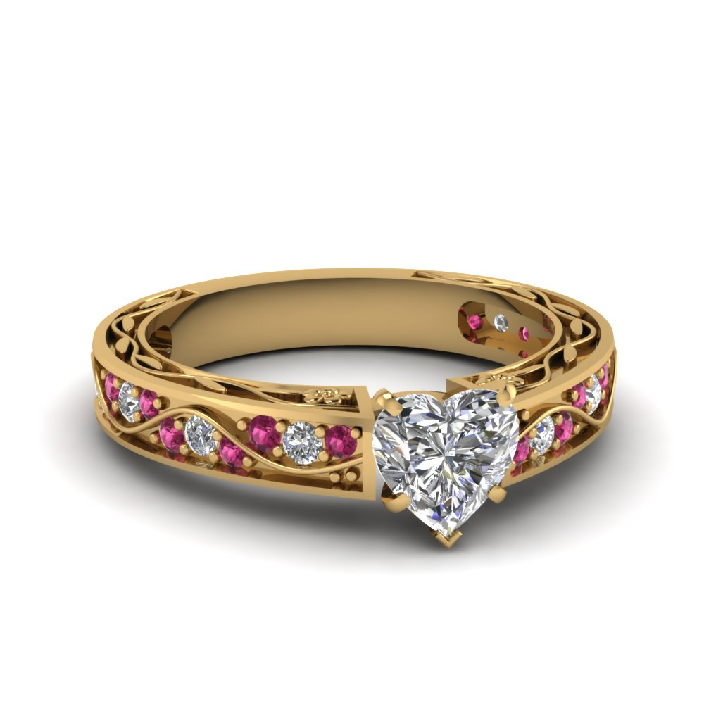 Heart Shaped Diamond with Pink Sapphire Engagement Ring