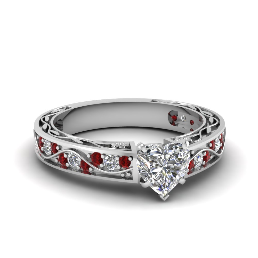 Heart Shaped Diamond Shank Wave Side Stone Engagement Ring With Red Ruby In  14k White Gold