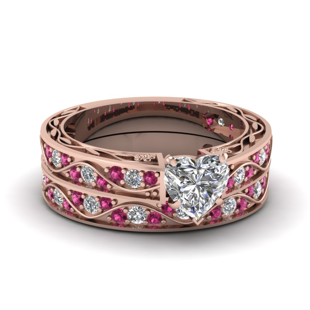 heart shaped diamond wedding ring sets with pink sapphire in 14k rose gold - Heart Wedding Ring Set