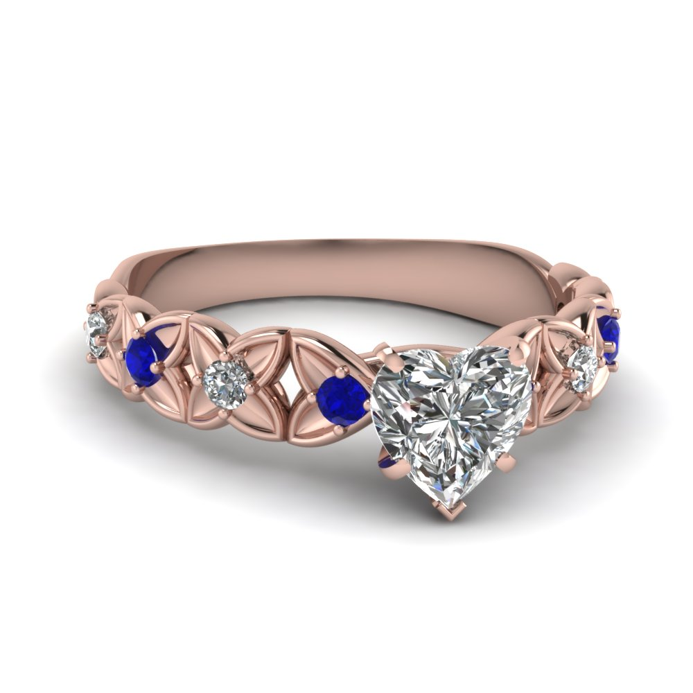 Floral 18k Rose Gold Ring with Blue Sapphires