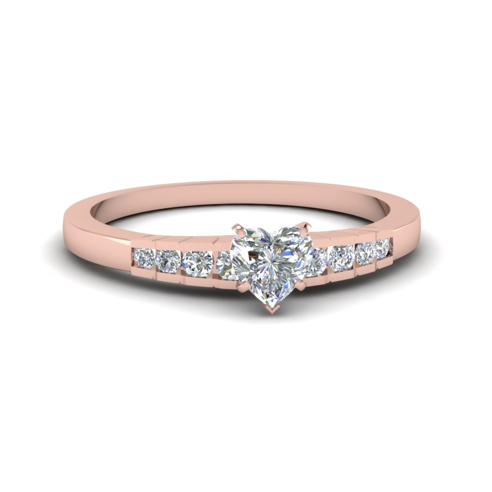 Rose Gold Heart Diamond Petite Rings