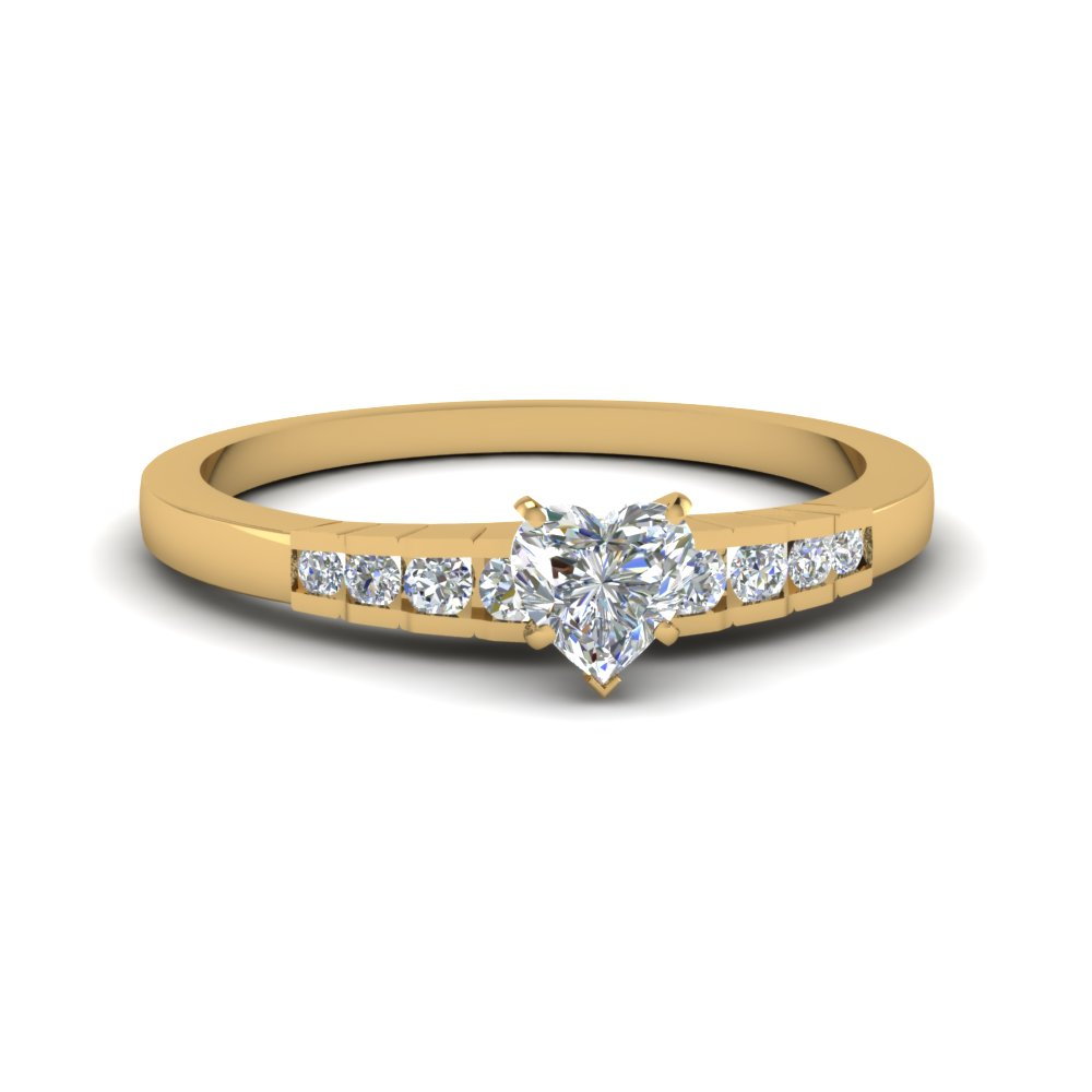 heart shaped diamond simple petite engagement ring in 14k yellow gold fdens3116htr nl yg - Heart Shaped Wedding Rings