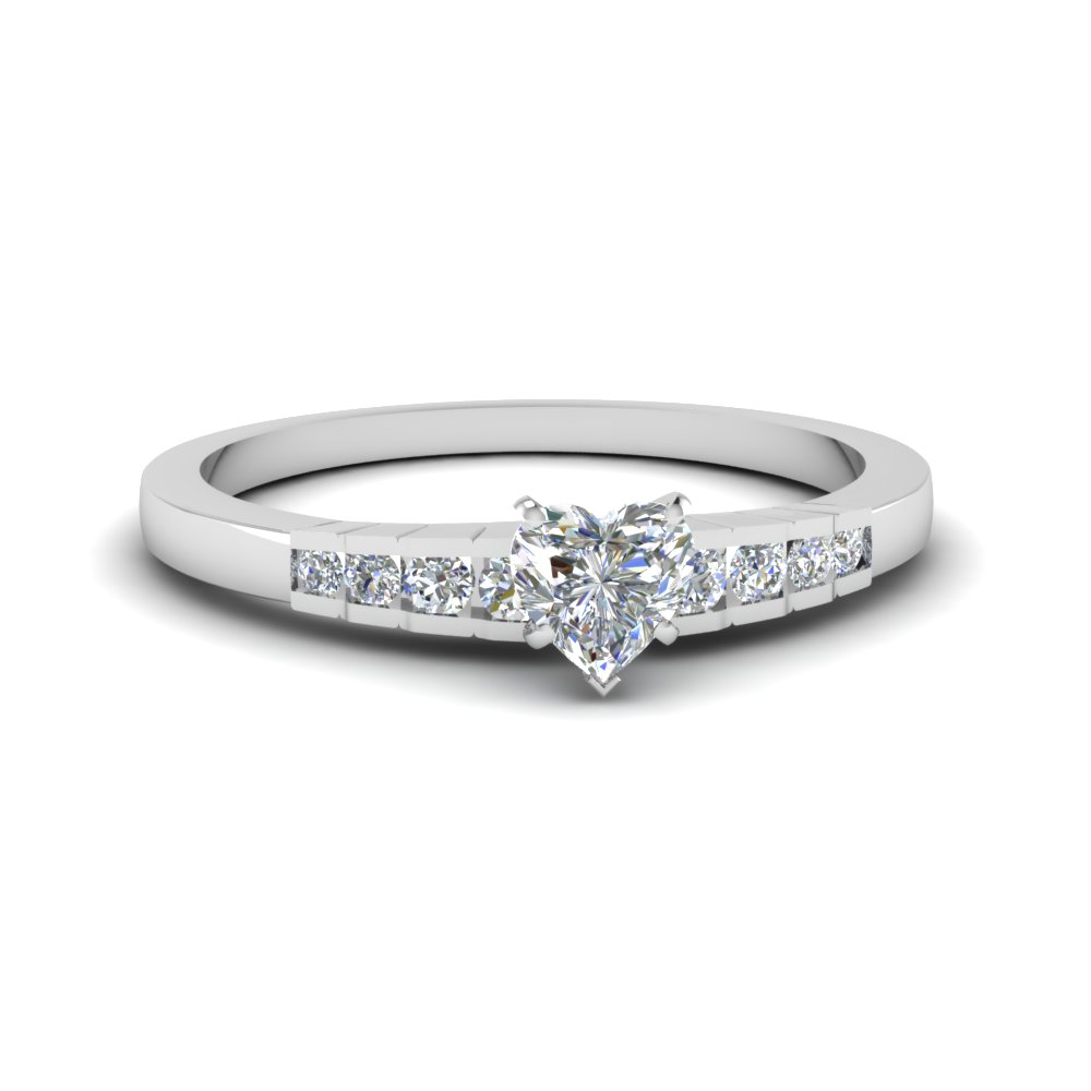 Petite Heart Diamond Ring White Gold