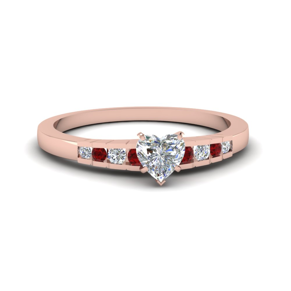 heart shaped diamond graduated accent engagement ring with ruby in 18K rose gold FDENS3116HTRGRUDR NL RG