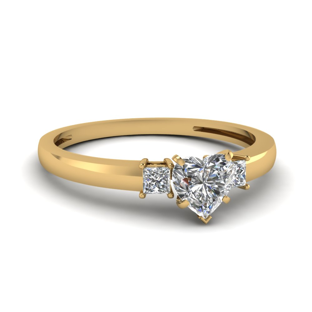 3 Stone Heart Shaped Engagement Ring