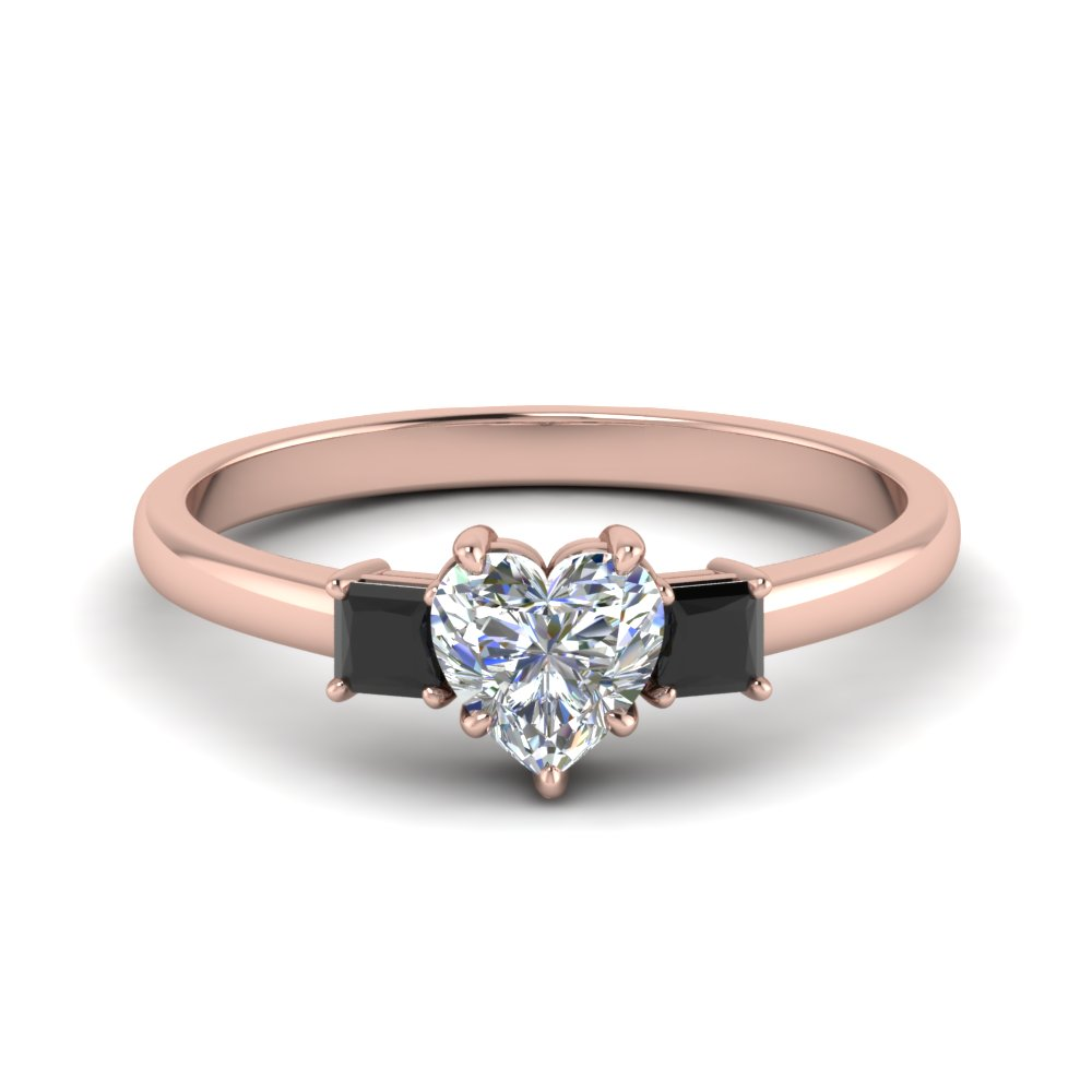 3 stone heart shaped engagement ring with black diamond in 14K rose gold FDENS3107HTRGBLACK NL RG