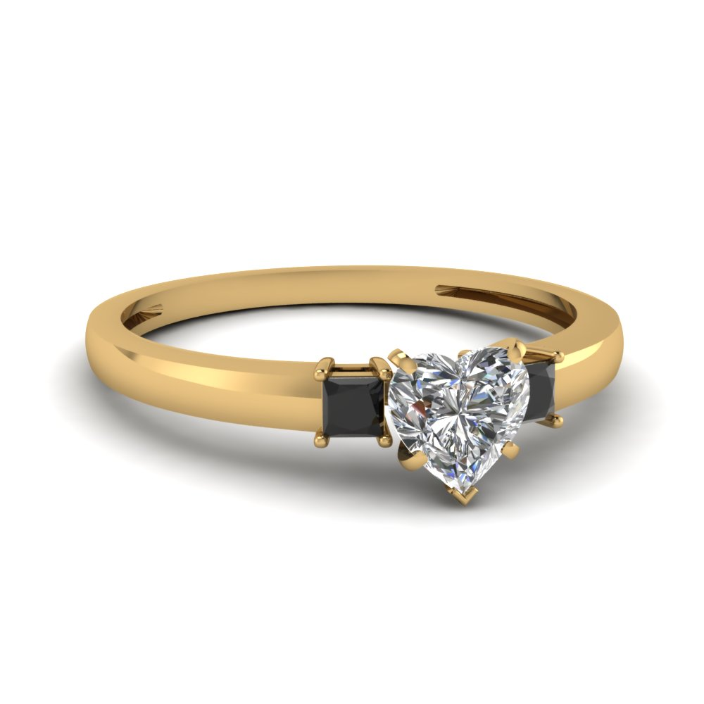 3 stone heart shaped engagement ring with black diamond in 14K yellow gold FDENS3107HTRGBLACK NL YG