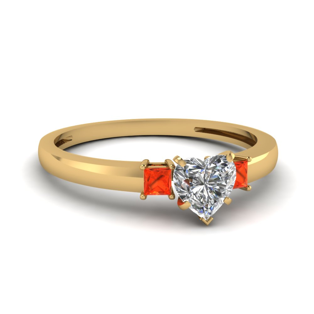 Heart Shaped Orange Topaz 3 Stone Engagement Ring