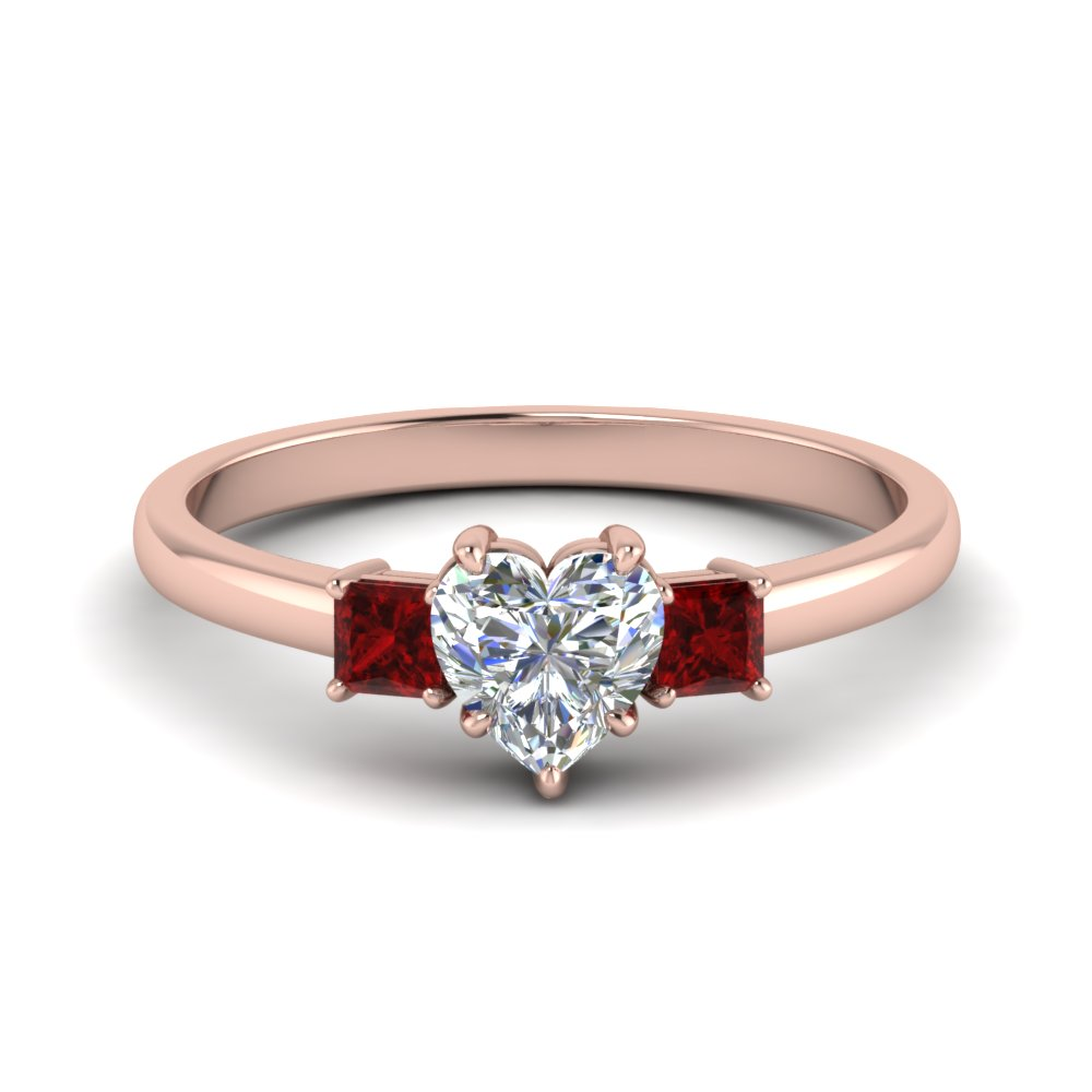 3 stone heart shaped engagement ring with ruby in 14K rose gold FDENS3107HTRGRUDR NL RG