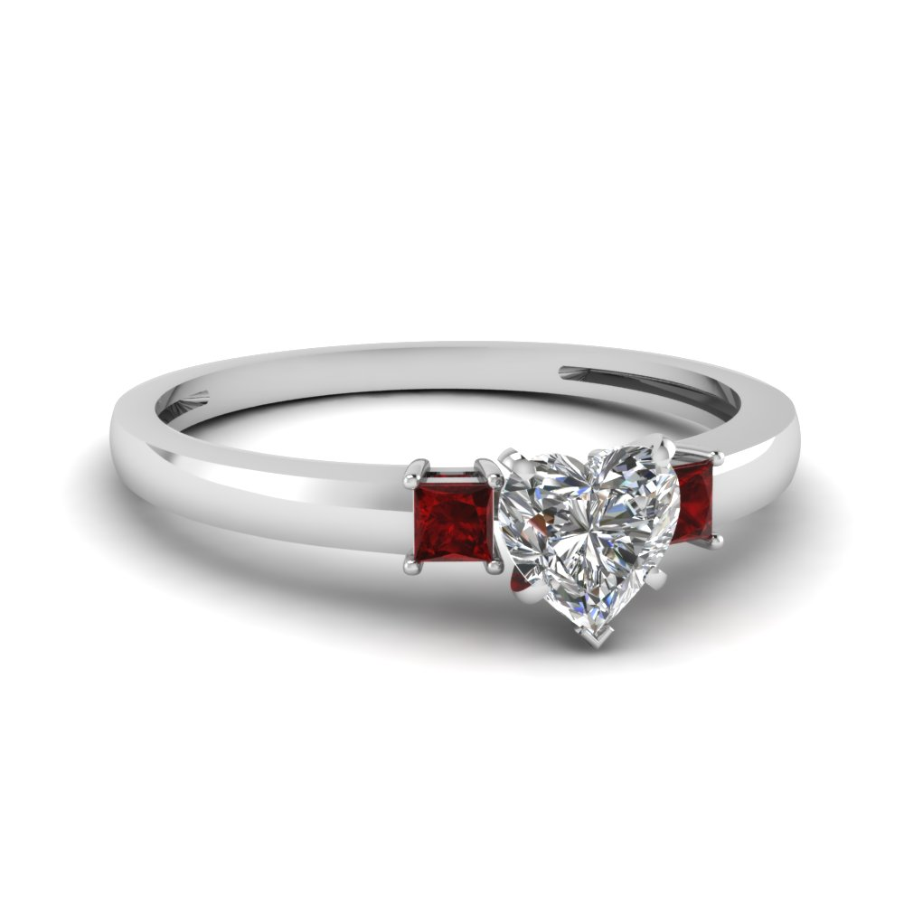 3 stone heart shaped engagement ring with ruby in 950 Platinum FDENS3107HTRGRUDR NL WG