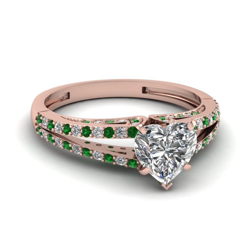 Rose Gold Heart Shaped Diamond With Emerald Split Engagement Ring