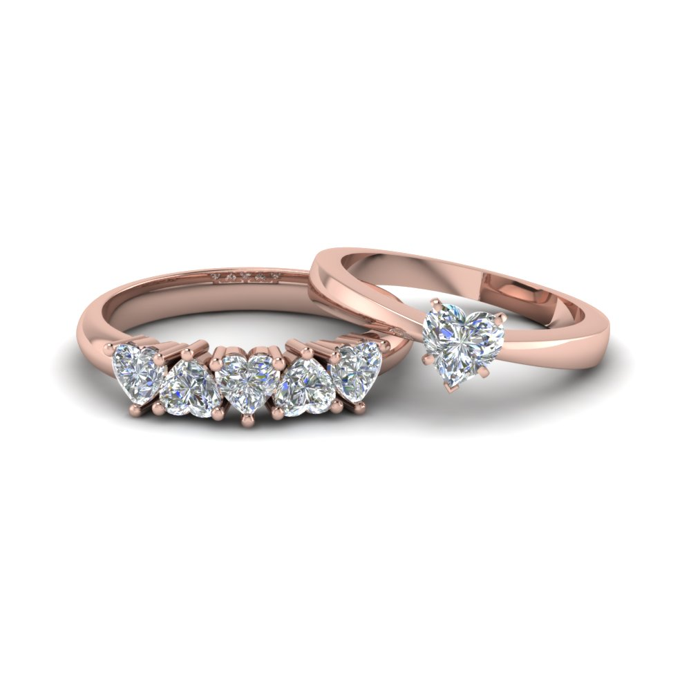 heart shaped diamond solitaire ring with matching 5 stone band in 14K rose gold FD8212B NL RG