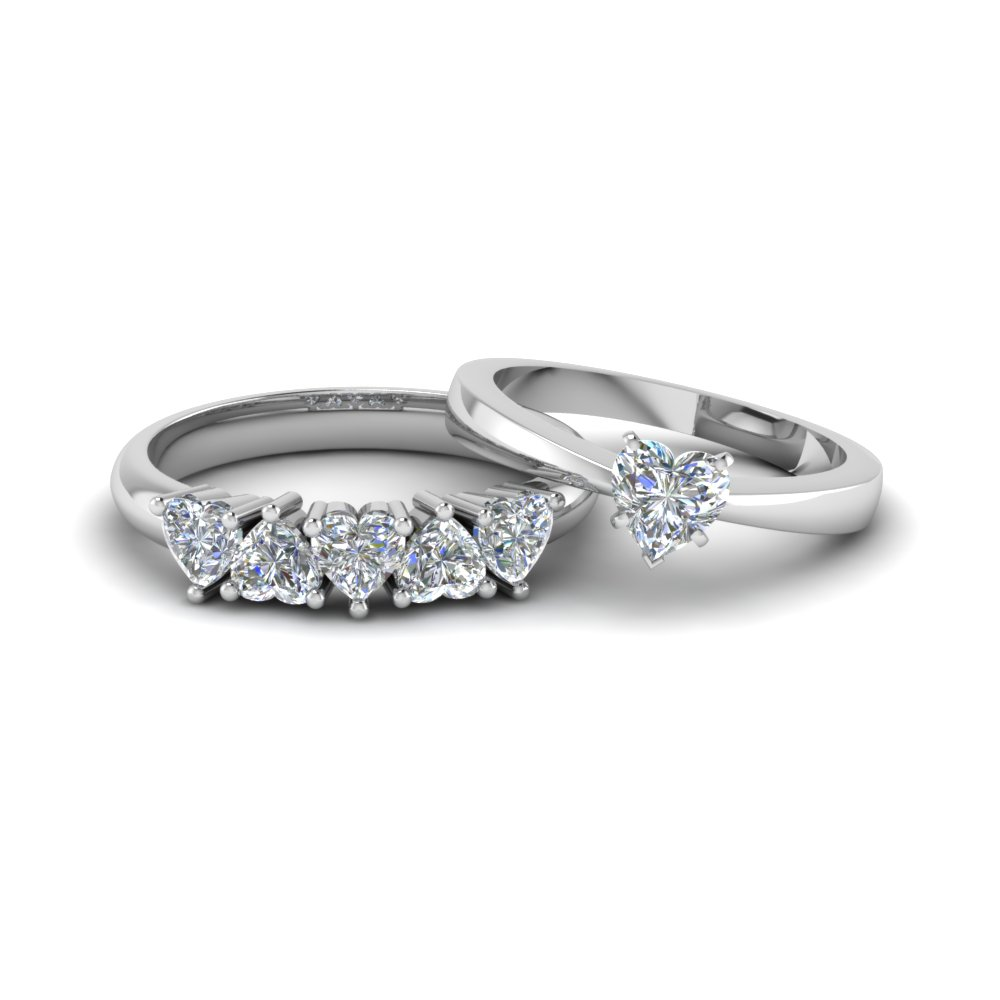 heart shaped diamond solitaire ring with matching 5 stone band in 14K white gold FD8212B NL WG